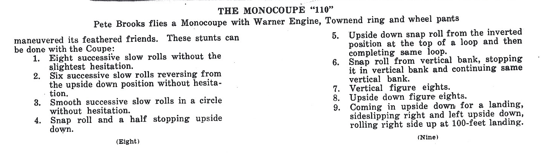 Monocoupe 110 stunts
