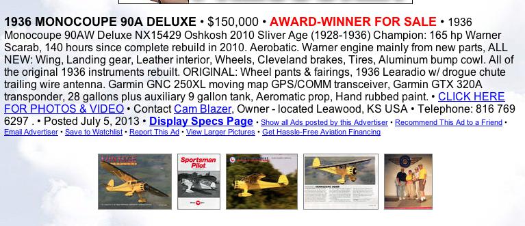 Cam Blazer's Monocoupe 90A For Sale