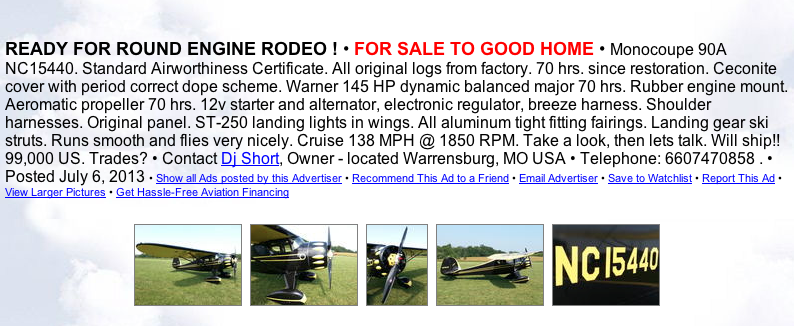DJ Short Monocoupe 90A for sale